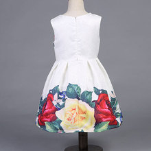2017 new summer girls dress white designer brand new children clothing rose flower princess wedding party Lace girl clothes