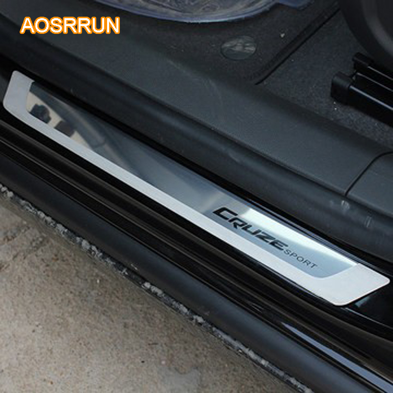 AOSRRUN Stainless Steel Slim Door Scuff Sill Plates Cover stickers FOR 2010 2012 2013 2014 Chevrolet cruze Sedan hatchback