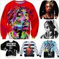 2016 Nova moda 3d camisolas caráter impresso 2Pac Tupac Shakur camisola dos homens/mulheres Harajuku hoodies moleton masculino
