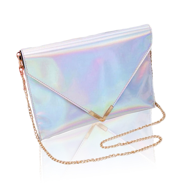 Keenici New Leather Pink Women Laser Handbags Silver Hologram Envelope Clutch Evening Message Bags