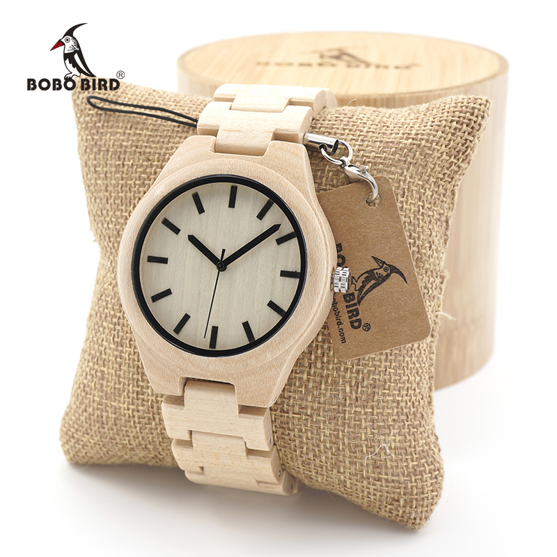 BOBO BIRD Mens White Maple Wooden Watches with bamboo Wood Links Causal Quartz Wrist Watch in Gift Box free shipping