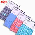 Comfortable ! Loose Men Boxer Woven Cotton  4-Pack Brand Male Underwear Shorts Breathable Soft Thin Good For Male Health