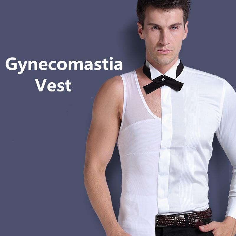 Mens Gynecomastia Vest Chest Binder Qëndrimi Poster Korse Mashkull Trajner Abdominale Zvogëloni Ulët Trupin e Bardhë të Lëmuar Kthehu Kryqi Kryesor