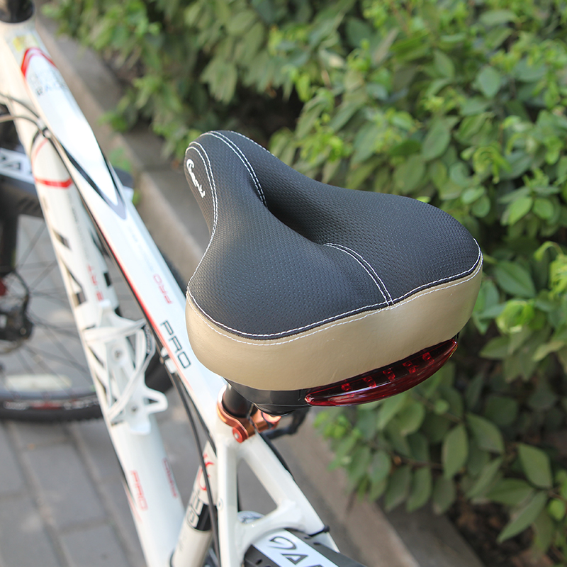 Chaunts New Bicycle Saddle With Rear Light Ergonomic MTB Road Mountain Bike Seat Soft Breathable Wide Cycling Riding Bike Saddle road bike carbon fiber saddle mtb bicycle hollow breathable saddle cycling comfortable cushions mountain bike riding accessories