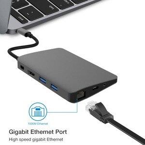 Image 2 - USB C סוג C מחשב נייד עגינה עבור Macbook USB C כדי HDMI מיני DP 4K RJ45 Ethernet USB 3.0 אודיו 3.5mm סוג C טעינת Dock
