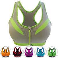 Sports Bra Zipper Fitness Women Sexy Yoga Push Up Seamless Padded Professional Shockproof Black Plus Size Running Top Bra