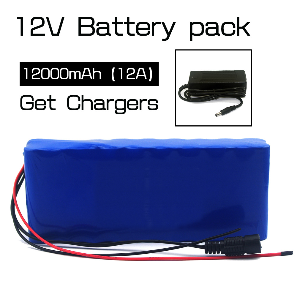 12V 12A 18650 lithium battery 12000 mAh capacity lithium battery including protective plate + 12V charger Free shipping 2016 promotion new standard battery cube 3 7v lithium battery electric plate common flat capacity 5067100