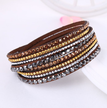 Crystal Multi-Layer Wrap Bracelets Bracelets Jewelry New Arrivals Women Jewelry Metal Color: coffee