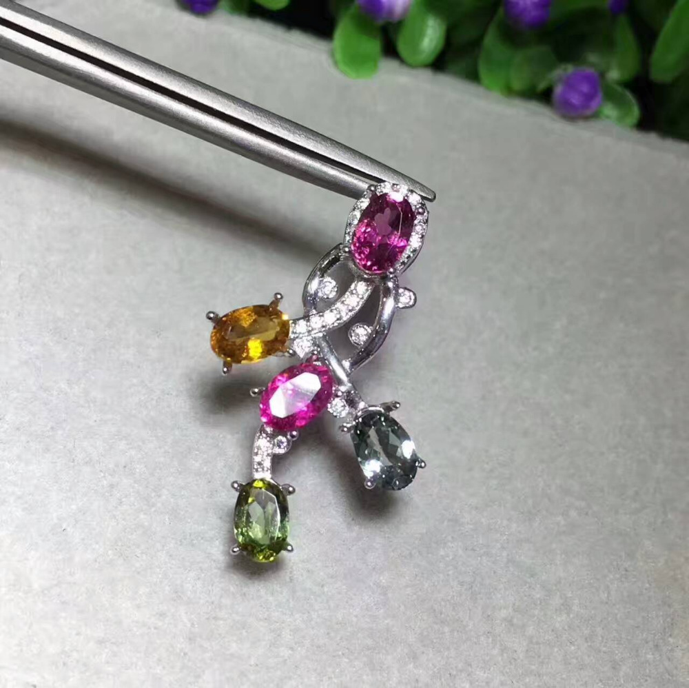 natural multicolor tourmaline pendant 925 Sterling silver Natural gemstone Pendant Necklace Irregular flowers women girl jewelry natural red ruby pendant 925 sterling silver natural gemstone pendant necklace trendy long flowers tassel women girl jewelry