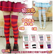 NIJIGEN Cute Womens Lolita Over knee Wide Stripe 100% Cotton STOCKINGS Thigh High Anime Cosplay 10 Colors