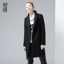 Toyouth 2017 New Arrival Women Casual Wool Blends Autumn Solid Button Pockets Turn-down Collar Wollen Coat