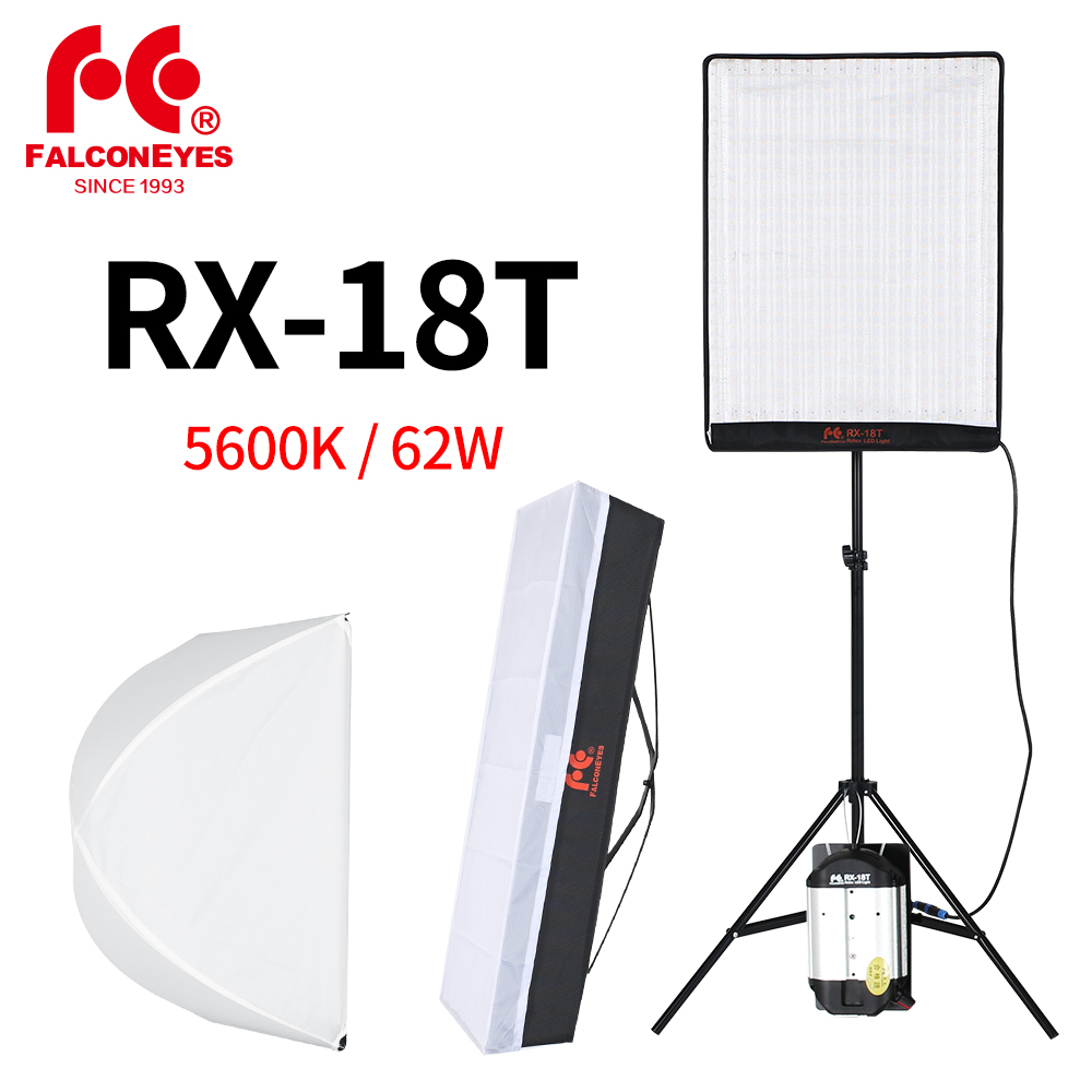 Falcon Eyes RX 18T 62W Portable LED Photo Video Light 504pcs Flexible Rollable Cloth Lamp with Diffuser + 2M Light Stand-in Photographic Lighting from Consumer Electronics    1
