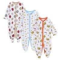 3 قطعة/الوحدة الوليد الطفل القطن الرضع طفل الفتيان الفتيات منامة طويلة الأكمام القدم covere رومبير طفل قدم غطاء النوم