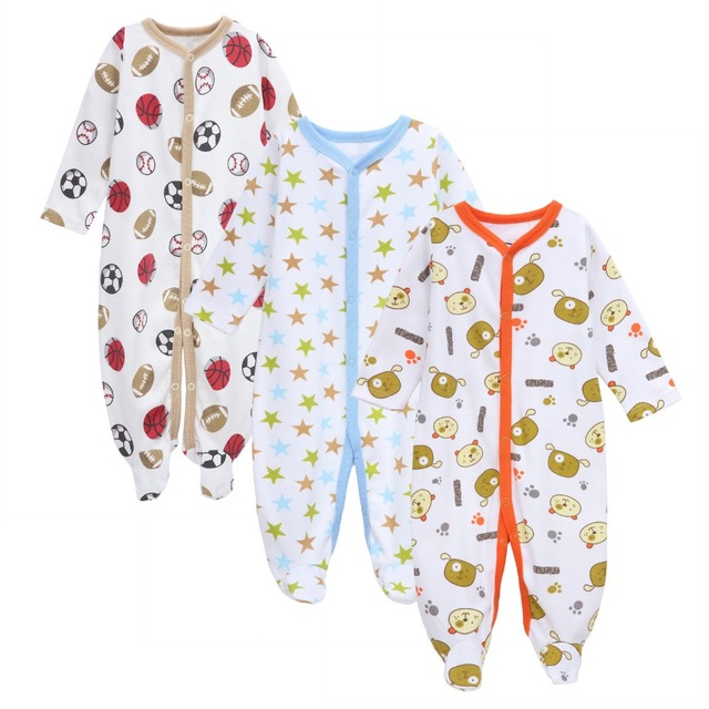 2b1c21b9f8c3 3PCS Lot Newborn Baby Cotton Rompers Infant Long Sleeve Foot Covere ...