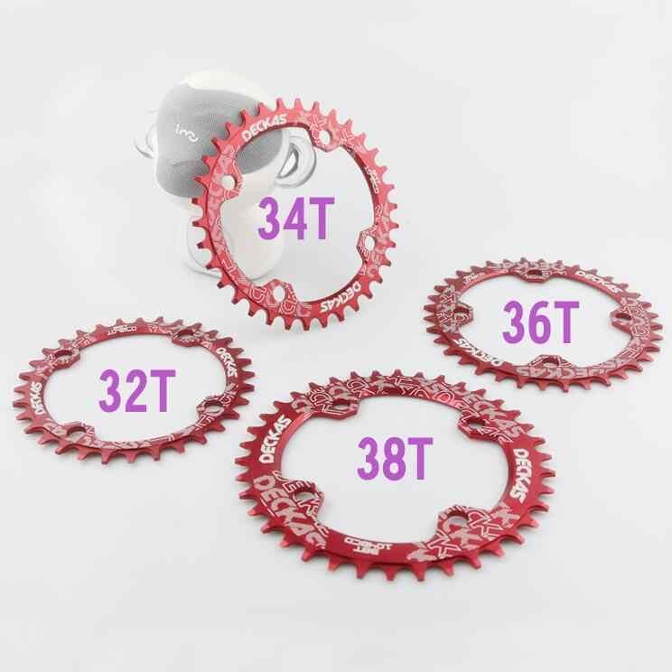 Deckas 104BCD ラウンド狭いワイドギア mtb マウンテンバイク自転車 104BCD 32 t 34 t 36 t 38 t クランクセット歯プレート部品 104 bcd