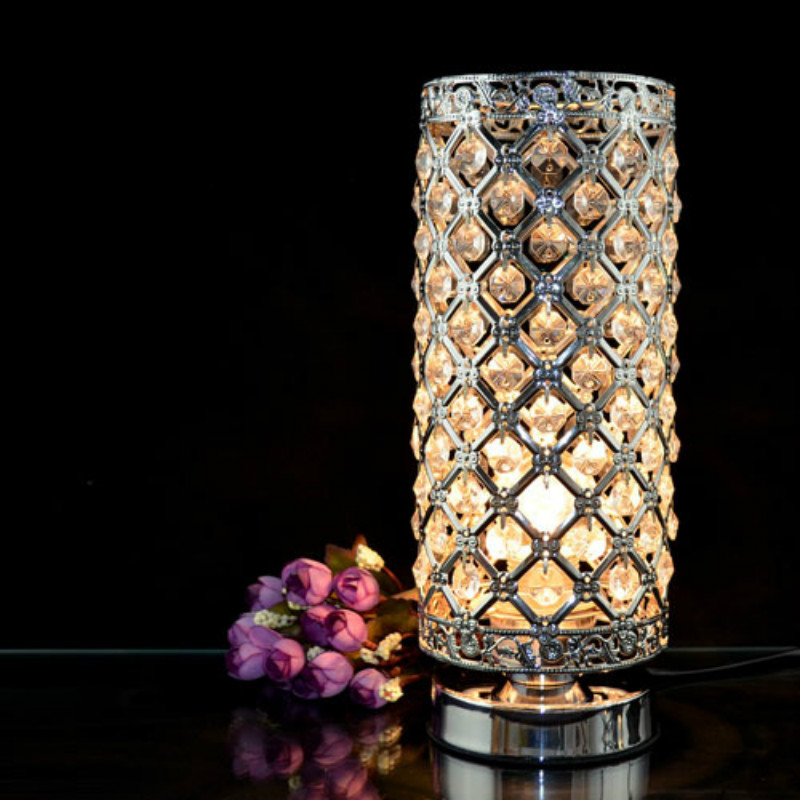 modern iron clear crystal table lamp bedroom bedside