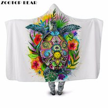 Tortoise&Flower 3D Print Plush Hooded Blanket for Adult Youth Child Warm Wearable Sofa Fleece Throw Blanket Home Office Washable(China)