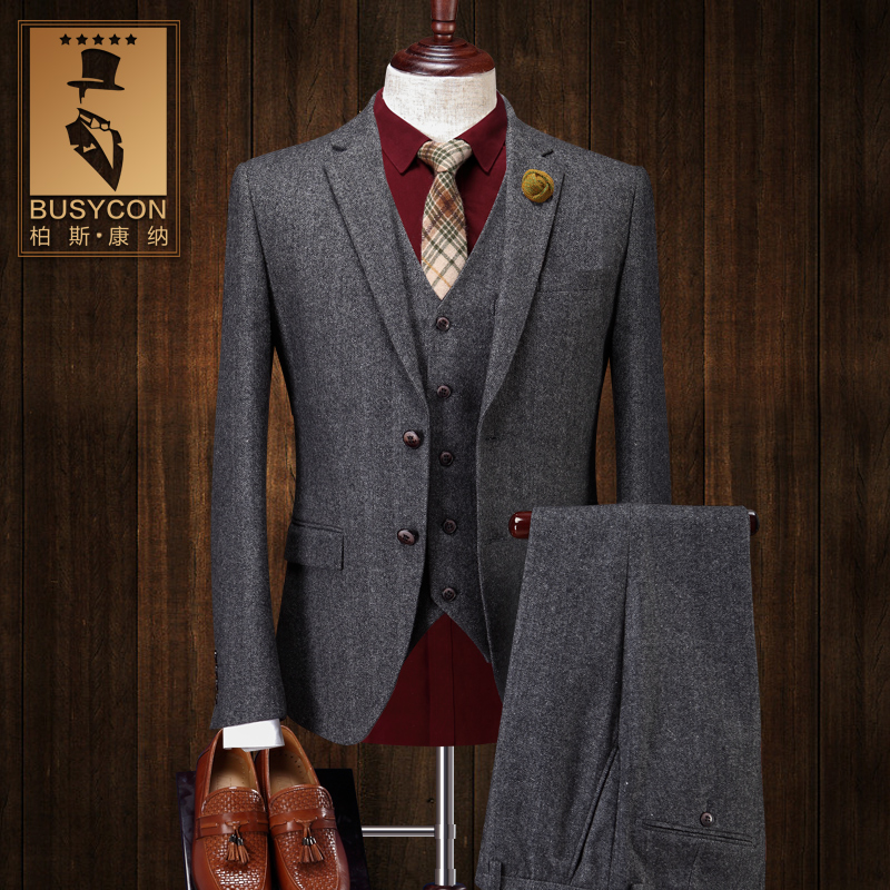 Aliexpress.com : Buy Herringbone Wool Suit Mens 3 Pieces Grey ...