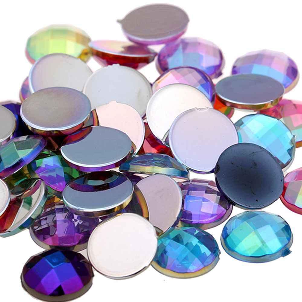 Acrylic Flat back Round Earth Facets AB colors 5 Sizes Acrylic Rhinestone  DIY High Shine Beads 7badfacdc598