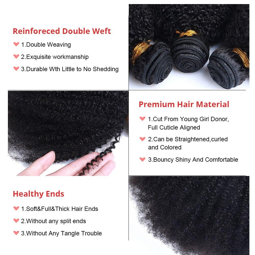 Mongolian Afro Kinky Curly Hair Bundles 100% Human Hair Bundles 4B 4C Natural Black Weave Extensions 3 Bundles Remy Comingbuy 5