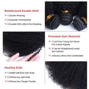 Image 5 - Mongolian Afro Kinky Curly Hair Bundles With Closure 100% Human Hair Bundles 4B 4C Natural Black Weave Extensions 3 Bundles Remy
