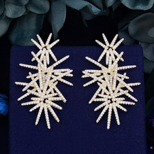 GODKI Luxury Fireworks Trendy Cubic Zirconia Wedding Party Drop Earring Fashion Jewelry for Women