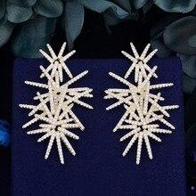 GODKI pendientes de lujo con diseño de fuegos artificiales para mujer, aretes colgantes, Circonia cúbica, Zirconia, circonita, zirconita, zirconita, circón, fiesta, boda