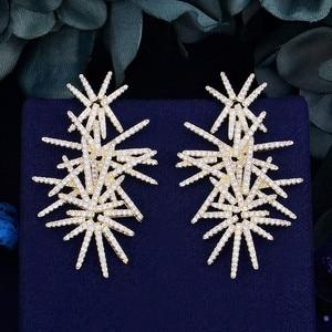 Image 1 - Godki fogos de artifício de luxo na moda zircônia cúbica festa de casamento gota brinco moda jóias para mulher