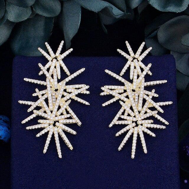 Godki fogos de artifício de luxo na moda zircônia cúbica festa de casamento gota brinco moda jóias para mulher