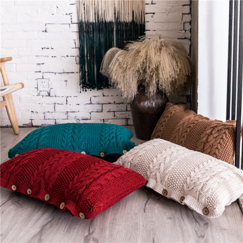 Solid Knit Cushion Cover Red Peacock Coffee Ivory Cushion Case Soft For Sofa Bed Living Room Decorative 35x65cm Button Open