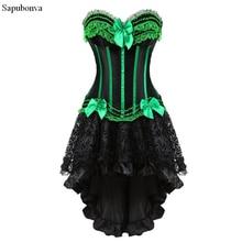 Sapubonva korsetts kleid mit rock burlesque vintage gestreiften floral lace up korsett bustier tank tops für frauen cosplay plus größe