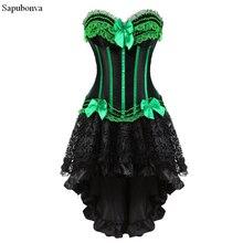 Sapubonva nịt Đầm váy Burlesque vintage sọc họa tiết hoa phối ren dây chéo áo ngực xe tăng cao cấp cho nữ cosplay Plus kích thước