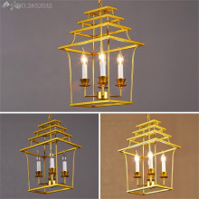 JW_Post Modern Gold Iron Bird Cage Pendant Lights Nordic Creative Lamps for Dining Room Restaurant Bar Home Lighting Fixtures(China)