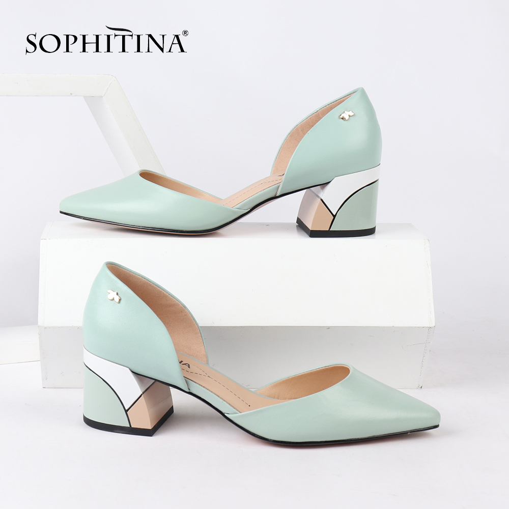 SOPHITINA Comfortable Square Heel Pumps High Quality Genuine Leather Slip-on Shoes Fashion Shallow Special Women's Pumps SC162