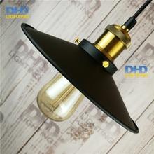 D.22cm Североамериканский стиль Старинные ностальгию бар таблица лампа черного листового железа подвесные светильники одного бар лампы
