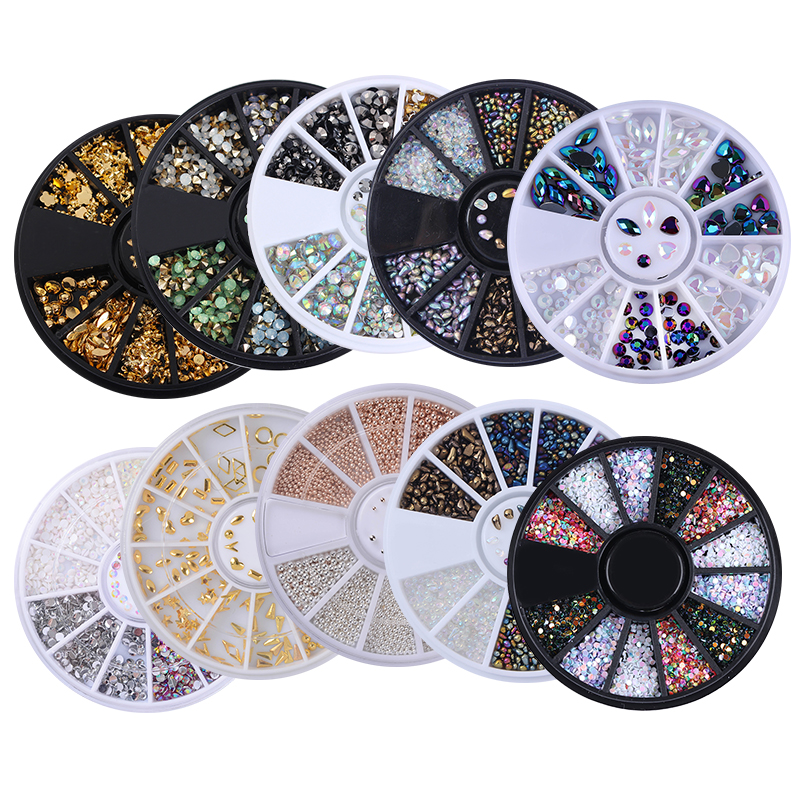 1 Box Mixed Color 3D Nail Art Decoration in Wheel Colorful Nail Studs Round DIY Manicure Nail Art Accessories Nail Tools 1 box gold matte nail art rhinestone studs wheel 3d metal square triangle shaped nail decoration accessories