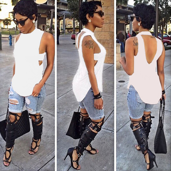 Backless Women Loose Tank Tops for Summer Party Cool Casual Dressing