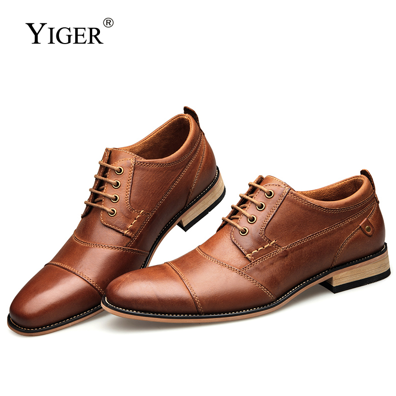 YIGER New Men Dress shoes formal shoes men's Handmade business shoes wedding shoes Big Size Genuine Leather Lace-up Male 0249 image