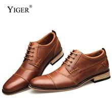 YIGER جديد الرجال فستان أحذية رسمية الرجال اليدوية حذاء رسمي أحذية الزفاف حجم كبير جلد طبيعي الدانتيل متابعة الذكور 0249
