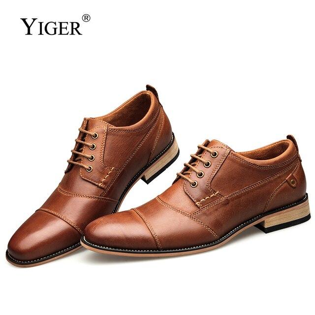 Мужская деловая обувь YIGER, черная деловая Свадебная обувь из натуральной кожи, на шнуровке, большие размеры, 0249
