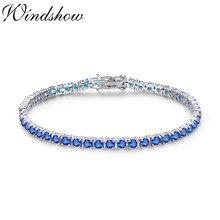 3mm 925 prata esterlina redonda azul spinel pedra tênis pulseiras para mulher pulseras pulseira bracelete jóias menina amigo presente