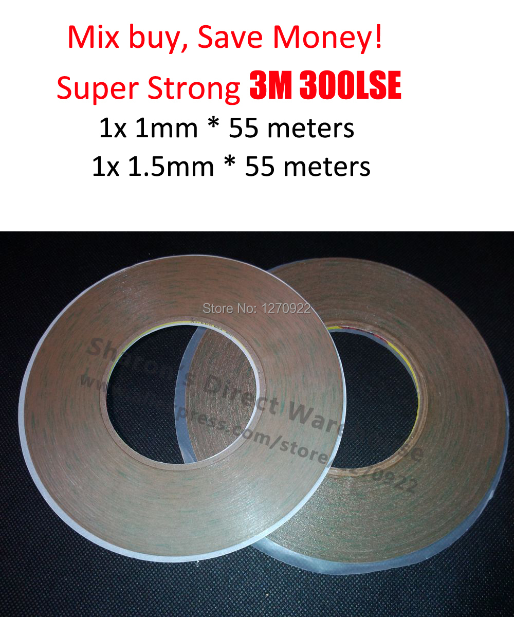 1mm/1.5mm width 3M 9495LE 300LSE Clear Strong Double Sided Clear Sticky Tape for Samsung Iphone Screen Frame Touch Panel Joint 1x 22mm 55m 3m 9495le 300lse super strong sticky double sided adhesive tape for iphone 4s 5 frame digitzer repair