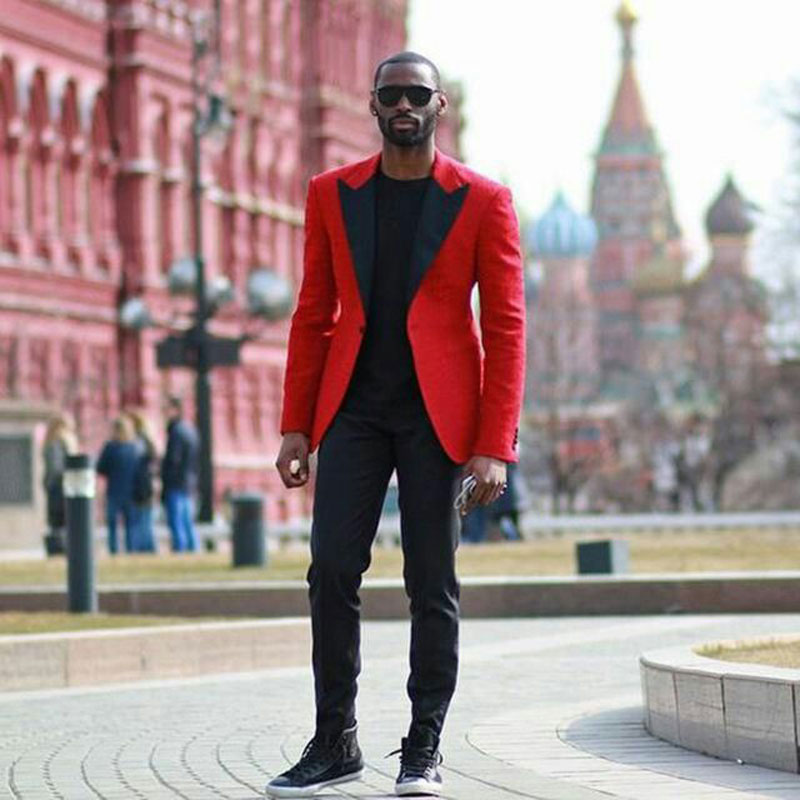Custom Made Red Men Suits For Wedding Formal Groom Tuxedos Black Peaked Lapel Slim Fit Man Blazers 2pieces Costume Homme Ternos in Suits from Men 39 s Clothing