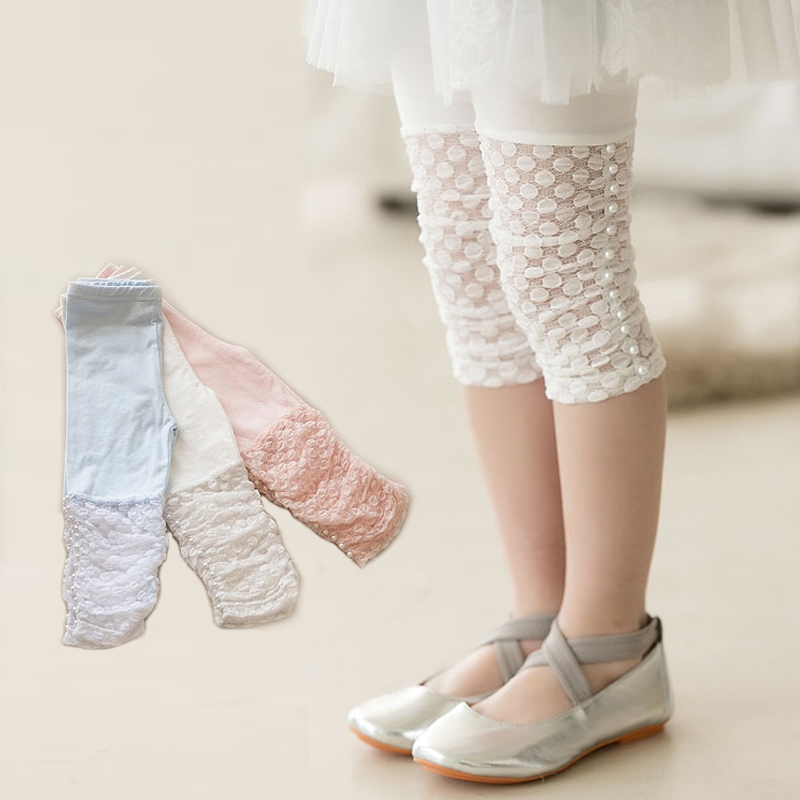 Free Shipping 2018 Summer Girls Leggings Pants Lace cotton Children Clothing Flower Girl Knee Pants леггинсы для девочек children leggings 10pcs lot 3 12 10 summer lace leggings