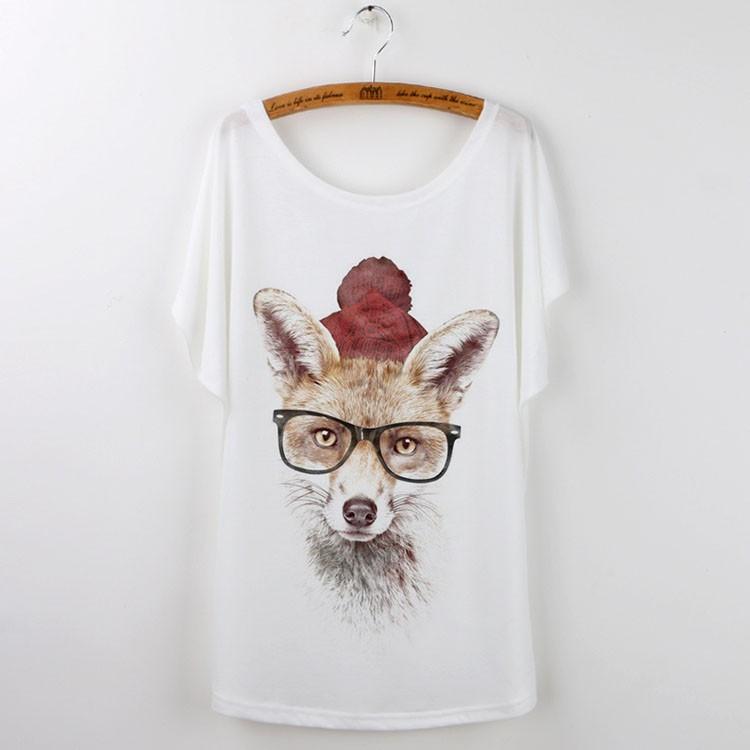 HTB1gYcfHFXXXXccapXXq6xXFXXX9 - Cute Fox Short Sleeve White T Shirt Camiseta Feminina Tee