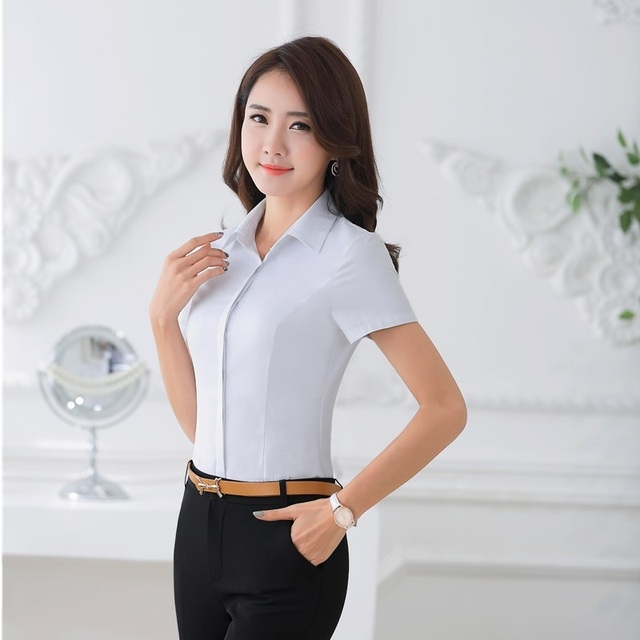 a907540bb86 Summer Formal Ladies White Shirts Women Work Blouses and Tops Short Sleeve Office  Uniform Shirts Female OL Style