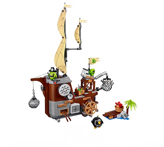 WAZ Compatible Legoe 75825 Lepin 2017 Angry Birds Movie 19005 650pcs Piggy Pirate Ship building blocks bricks toys for children lepin 22001 pirate ship imperial warships model building block briks toys gift 1717pcs compatible legoed 10210
