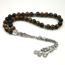 Man's Tabish Big Size 8mm 10mm 12mm 14mm Tiger eyes Natural stone misbaha Tiger eyes prayer beads 33 66 99beads stone Rosary big eyes