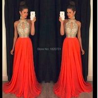 orange prom dresses a line halter top crystal beading dress for graduation vestidos de formatura longo 2019 abendkleider