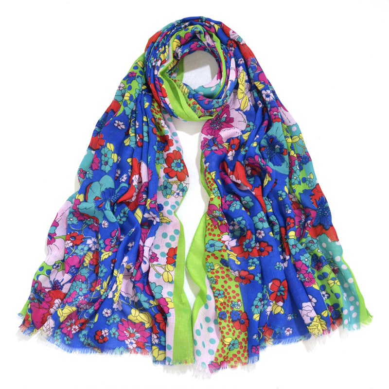 2017 Fashion Blossom Flower Print   Scarf   Shawls Women Beautiful Flower Fringe   Scarves     Wrap   Hijab 10 Color 10pcs/LOT Free Shipping